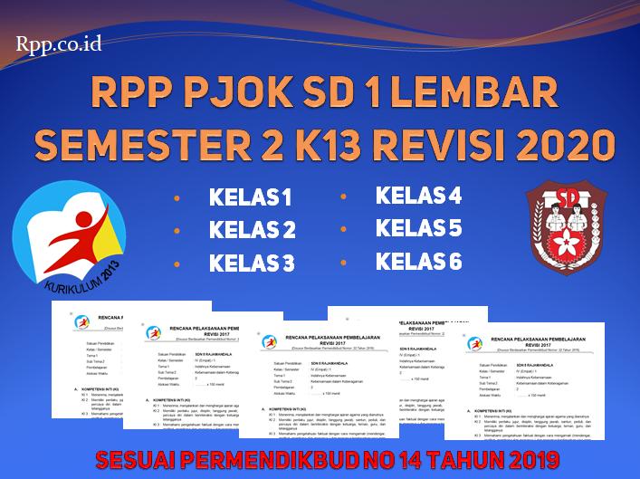 RPP PJOK SD 1 Lembar K13 Revisi Kelas 1-6 Semester 2
