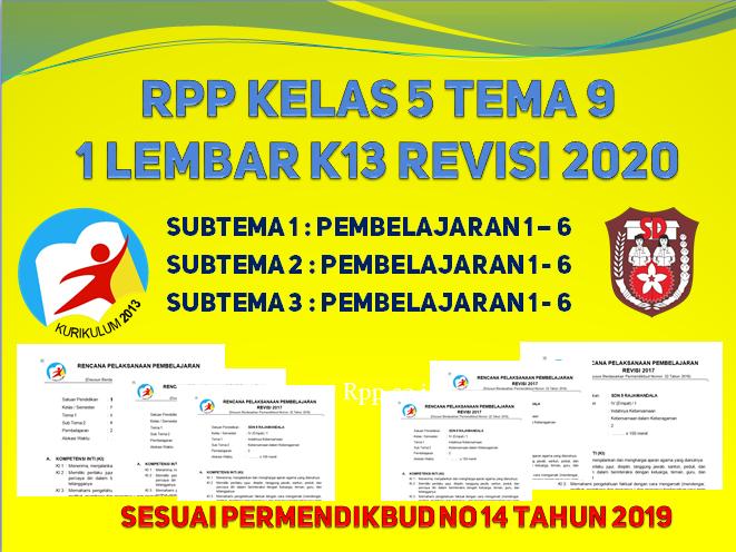 RPP 1 lembar kelas 5 tema 9 kurikulum 2013 revisi 2020 format terbaru